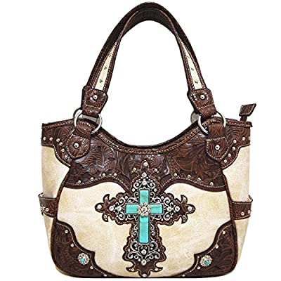 Western Rhinestone Cross Tooled Leather Totes Concealed Carry Purse Handbag Women Shoulder Bag Wallet Set