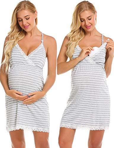 Ekouaer Womens Maternity Pregnancy Labor Robe Delivery Nursing Nightgowns Hospital Breastfeeding Gown S-XXL (Medium, Grey9643)