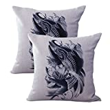 set of 2 Japanese carp koi fish cushion cover patio chair cushion covers