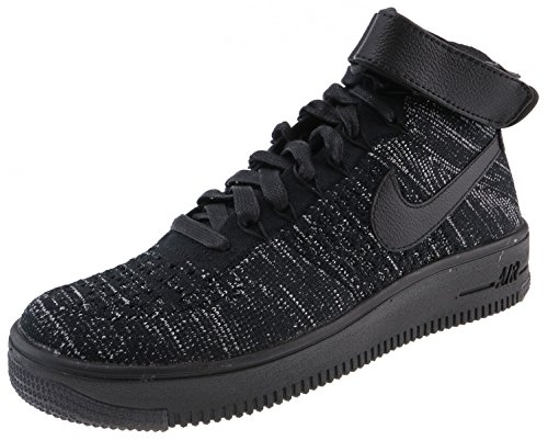 NIKE Womens AF1 Air Force 1 Flyknit Hi Top Trainers 818018 Sneakers Shoes (US 7.5, Black Black White 002)