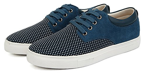 Diffyou Mens Suede Spliced Low Cut Lace Up Fashion Sneakers Blue lRNdbU24n