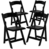 Cheap Flash Furniture 4 Pk. HERCULES Series Black Wood Folding Chair with Vinyl Padded Seat