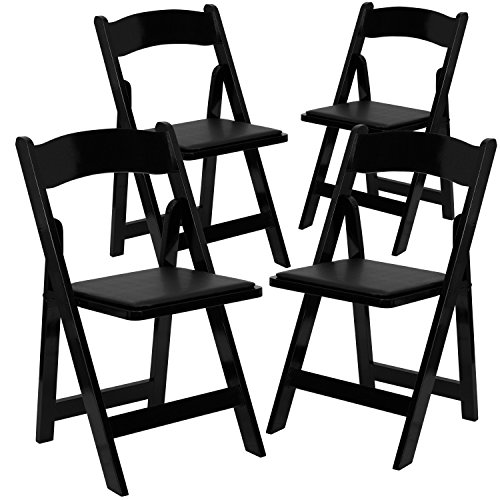 Flash Furniture 4 Pk. HERCULES Series Black Wood Folding Chair with Vinyl Padded Seat ()