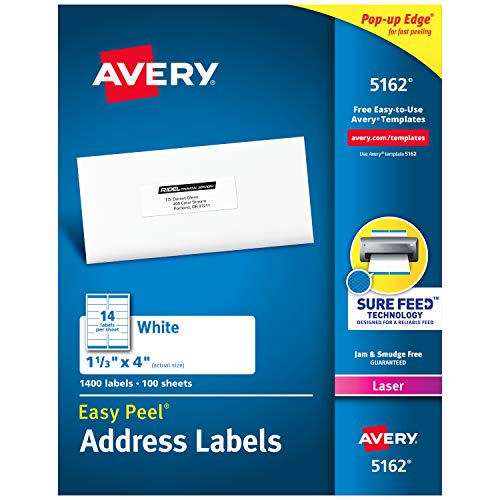 "Avery Address Labels with Sure Feed for Laser Printers, 1-1/3"" x 4"", 1,400 Labels, Permanent Adhesive (5162)"