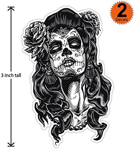 3 inch Mexican Sugar Skull Phone Sticker Version 3 - Día de los muertos - Day of the Dead Sticker Decal