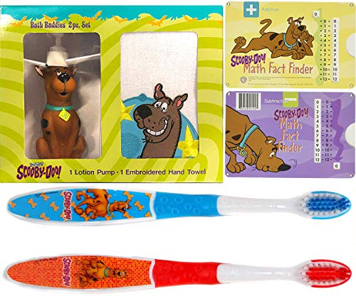 Learn & Clean Up Scooby-Doo! Bath Jam Time Kids Cartoon Character Buddy Set Zoinks! Soap Figure Dispenser & Bath Hand Towel + Twin Toothbrush Pack + Math Finder Facts & Fun 3 Items
