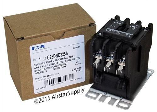 Allen Bradley 400-DP25ND3 - Replaced by Eaton / Cutler Hammer C25DND325A 50mm DP Contactor , 3-Pole , 25 Amp , 120 VAC Coil ()