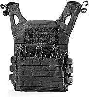 Jiehero Unisex Airsoft Vest Hunting Vest Adjustable Tactical Vest Dark Black