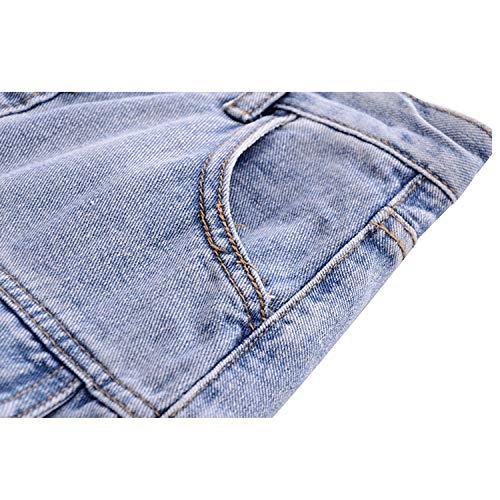 Retro Mezclilla Alta Xcxdx Cintura Grande Falda De Bolsillo Botón Informal Blue Desgarrada aqqw87Eg