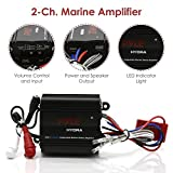 Pyle Auto 2-Channel Marine Amplifier - 200 Watt RMS 4 OHM Full Range Stereo with Wireless Bluetooth & Powerful Prime Speaker - High Crossover HD Music Audio Multi Channel System PLMRMB2CB, Black