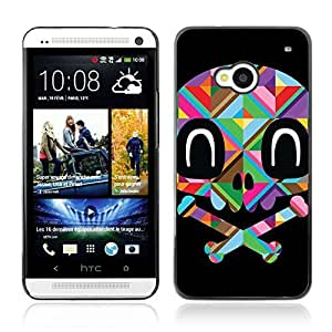 Colorful Printed Hard Protective Back Case Cover Shell Skin for HTC One (M7) ( Colorful Polygon Skull )