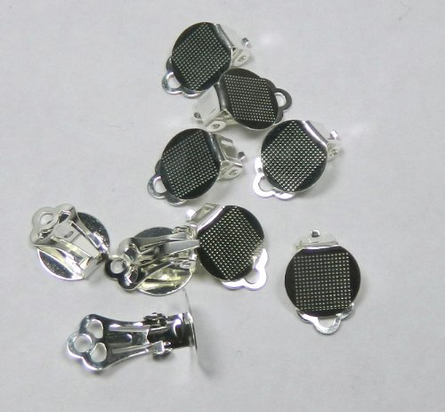 30 Earring, Clip-on, Silver-plated Steel, 12mm Round Flat Pad with Loop. Sold Per Pkg of (15 Pairs)