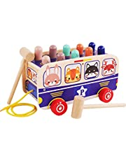 TOYANDONA Wooden Pull Along Walking Bus Toys Pounding Bench Early Educational Development for Toddlers Preschool Kids