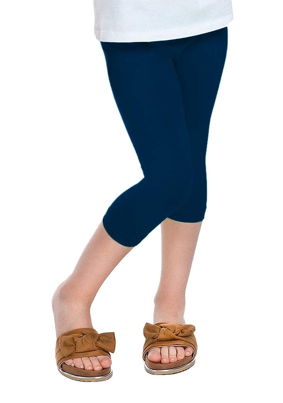 janisramone Girls Kids New Plain Stretchy Basic 3//4 Capri Leggings Children Summer Tights Cropped Pants