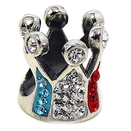 """Pro Jewelry 925 Sterling Silver """"Italian Princess Crown w/ Red, White, & Blue Crystal"""" Charm Bead for sale"""