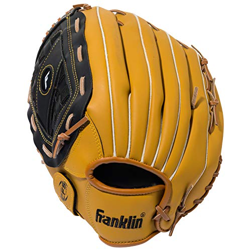 Franklin Sports Baseball Glove - Left and Right Handed Baseball and Softball Fielding Glove - Synthetic Leather Field Master Baseball Glove - 14 Inch Left Hand Throw ()