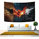 Mabel D. Silva Bat Tapestry Red and White Wall Tapestry for Bedroom 60x51