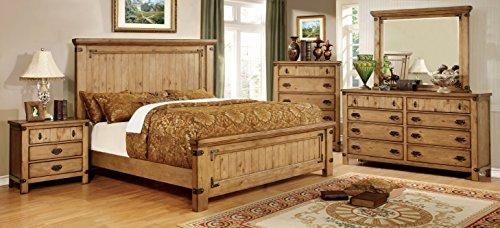 Furniture of America Corinthia Panel Bed, Eastern King, Burnished Pine