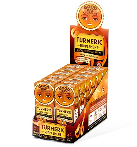 Good Day Chocolate - Dark Chocolate With Turmeric Dietary Supplement - Promote Muscle, Joint and Nervous System Health {Turmeric, 12 Pack}