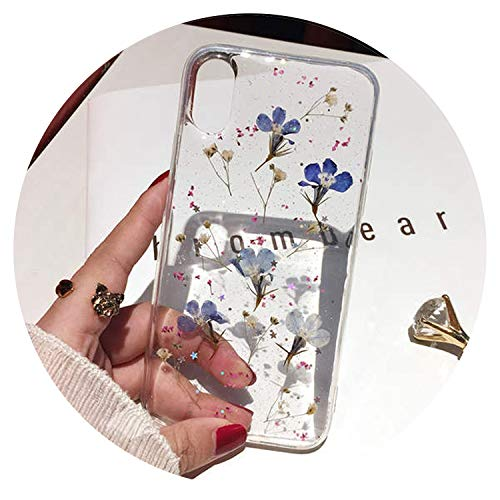 Carcasa de TPU para iPhone X, 6, 6S, 7, 8 Plus, diseño de Flores secas