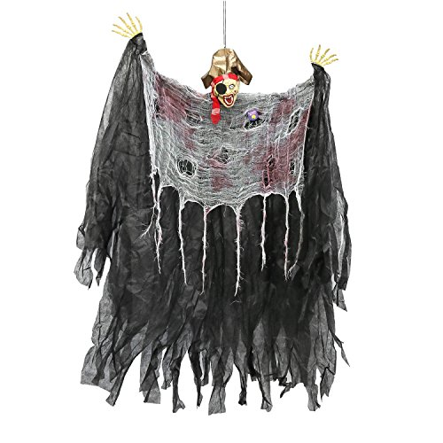 Halloween Haunters 4 Foot Hanging Scary Pirate with Eye Patch Prop Decoration - 1/3 Life-Size Scale Head with Open Screaming Mouth Face and Hat - Fun Entryway -