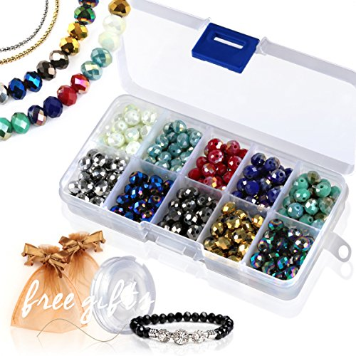 Glass Briolette - Briolette Faceted Rondelle Crystal Glass Beads in Assorted Color with Spacers and Container Box for Jewelry Making (#102, 8mm)