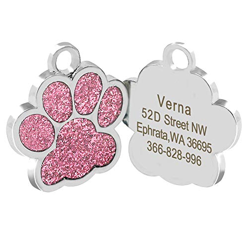 Didog Glitter Paw Print Pet ID Tags for Small Dogs and Cats,Personalized Engraving (Pet Paw Id Tag)