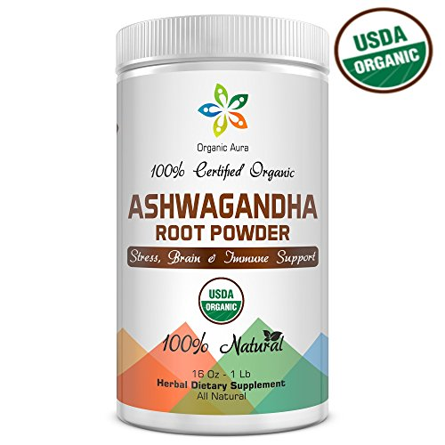 Certified Organic Ashwagandha Root Powder 16Oz -1Lb. Natural Stress, Brain and Immune Support. Enhances overall Health. Raw Superfood. 100% Natural Herbal Supplement. No GMO. Gluten Free.