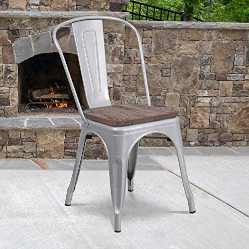 BizChair Silver Metal Stackable Chair