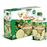 Happy Tot Organic Stage 4 Baby Food Love My Veggies Zucchini/Pear/Chickpeas & Kale, 4.2 Ounce Pouch (Pack of 16) (Packaging May Vary)