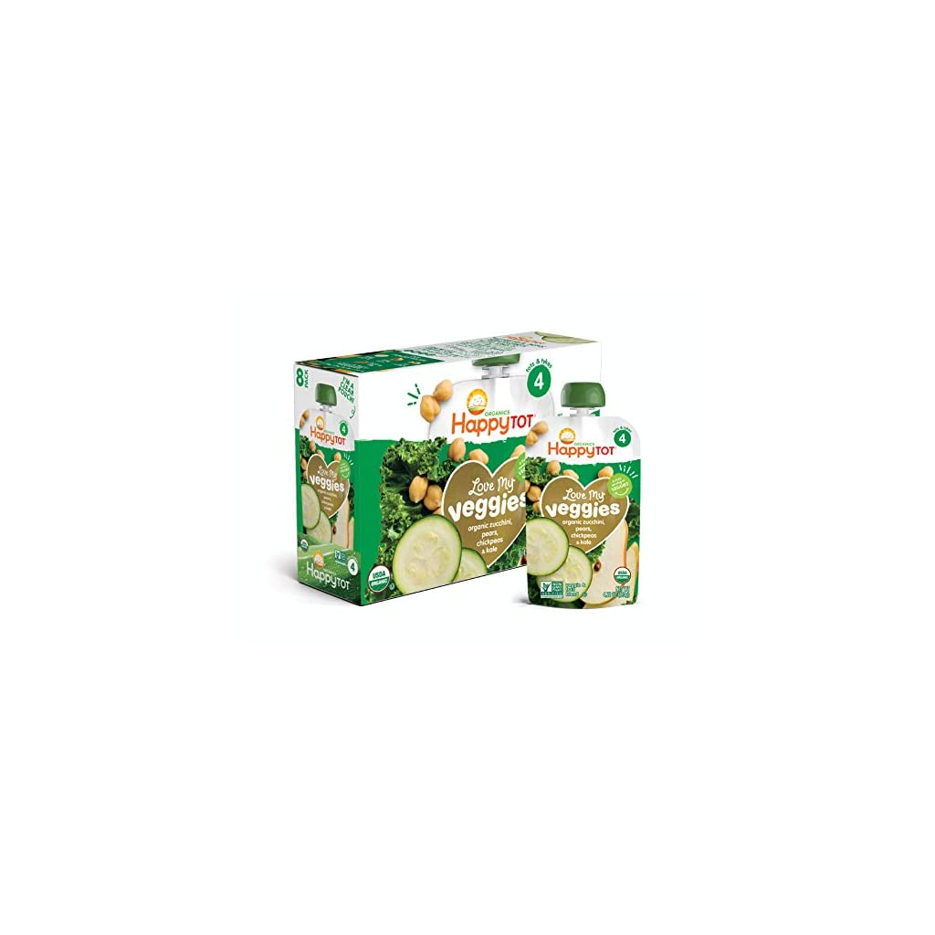 Happy-Tot-Organic-Stage-4-Baby-Food-Love-My-Veggies-ZucchiniPearChickpeas-Kale-422-Ounce-Pack-of-16-Packaging-May-Vary
