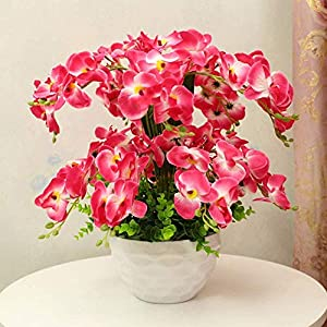 MARJON FlowersArtificial Orchids Phalaenopsis Fake Flower Living Room Decoration Silk Flower Bonsai Red 60