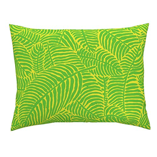 (Roostery Palm Trees Euro Knife Edge Pillow Sham Palm Trees Tropical Summer Botanical Palm Trees Palm Fronds Green and Yellow The Prime by Theprimefloridian 100% Cotton Sateen)
