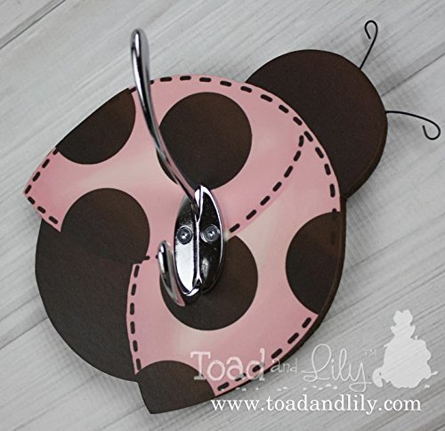 Pink Brown Mod Ladybug Clothes Peg Rack Clothing Rack, Hat Holder for Kids Bedroom Baby Nursery Playroom Mudroom Bathroom WH0022 (Mod Ladybug)