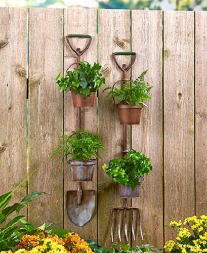 Rustic Garden Tool Planters Shovel & Pitchfork Yard Decor