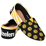 NFL Pittsburgh Steelers Women's Canvas Stripe Shoes, Medium (7-8), Black