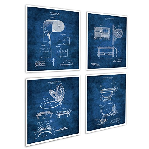 Gnosis Picture Archive Bathroom Posters Set of 4 Art Prints Unframed Toilet Paper Roll Toilet Seat Blueprint Diagrams - Print Art Bathroom