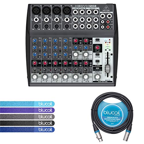 Behringer XENYX 1202 2-Bus Mixer with Mic Preamps, 3-Band EQ BUNDLED WITH Blucoil 10-Ft Balanced XLR Cable AND 5 Pack of Cable Ties (Speakers 1/4 Series Classic)
