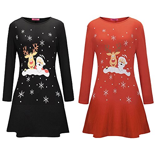 Santa Taille and Longues Robe imprime l Red Manches Deer Haute pour Vtements LILICAT Mini Claus Femme No de BqA7qzZ6w