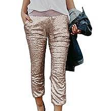 Women Sequins Pockets Shinny Nightclub Capri Pants Cropped Trousers Bottoms