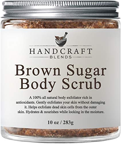 100% Natural Brown Sugar Body Scrub – All Natural Exfoliant Made with Real Brown Sugar Crystals – Gently Buffs Away Dry Skin Cells - Best Body Scrub for Cellulite, Stretch Marks, and Varicose Veins –