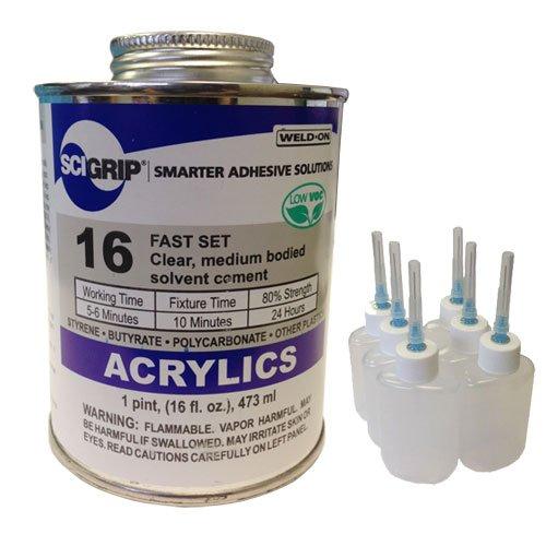 [해외]Weld-On 16 Acrylic Cement - Pint and 6 Pack of Weld-On Applicator BottleNeedle / Weld-On 16 Acrylic Cement - Pint and 6 Pack of Weld-On Applicator BottleNeedle