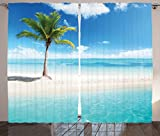 Ambesonne Ocean Curtains, Idyllic Scenery Seashore Picture Sun Rays View with Palm Tree Tropical Beach, Living Room Bedroom Window Drapes 2 Panel Set, 108 W X 63 L Inches, Aqua White Green For Sale