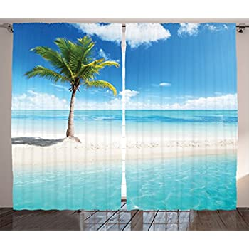 amazoncom ambesonne turquoise curtains decor tropical