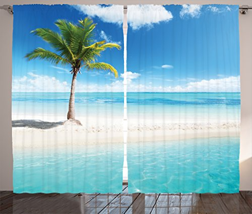 Ambesonne Ocean Curtains, Idyllic Scenery Seashore Picture Sun Rays View with Palm Tree Tropical Beach, Living Room Bedroom Window Drapes 2 Panel Set, 108 W X 96 L inches, Aqua White Green