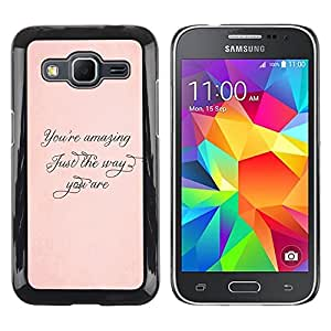 LECELL--Funda protectora / Cubierta / Piel For Samsung Galaxy Core Prime SM-G360 -- Amazing Just The Way Peach Gold Calligraphy --