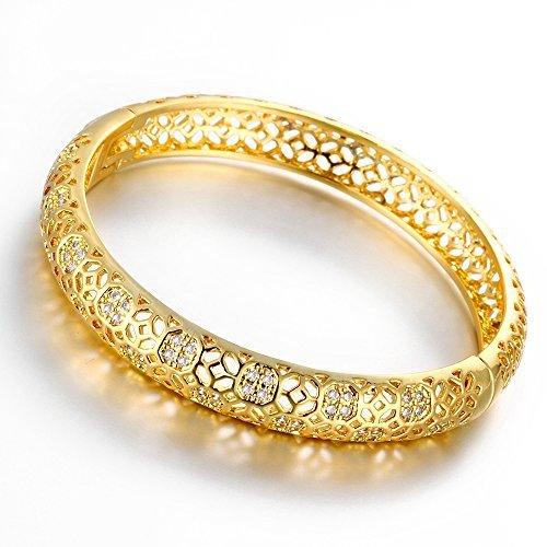 Hanfeier 18K Gold Plated Filigree Pattern Bangle Bracelets for Women