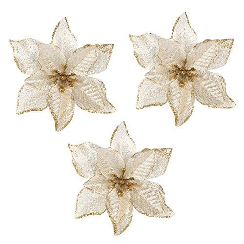3pcs Accessory of Golden Glitter Home Party Decor Xmas Poinsettia Artificial Ornaments