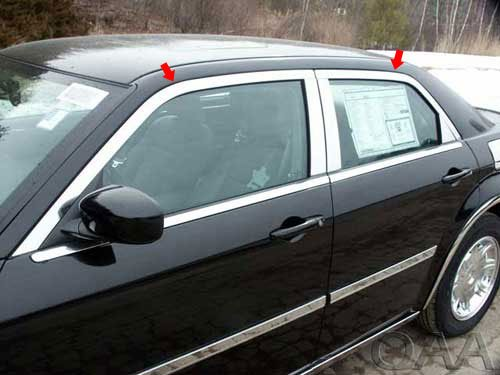 QAA FITS 300 2005-2010 CHRYSLER (4 Pc: Stainless Steel Window Trim Package NO pillar trim, 4-door, Base ONLY) WP45765