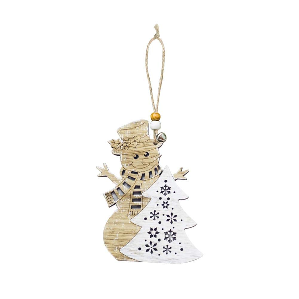 iShine Christmas Hanging Swirl Decoration Santa Snowman Shape Decorative Hanging Card Wooden Christmas Tree Decoration Pendant for Arts and Crafts Party Wedding Christmas Thanksgiving